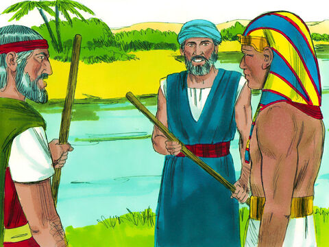 Early in the morning as Pharaoh went down to the river, Moses and Aaron told him what God had planned next. Swarms of flies would buzz around the Egyptians but not the Hebrew slaves living in Goshen. – Slide 12