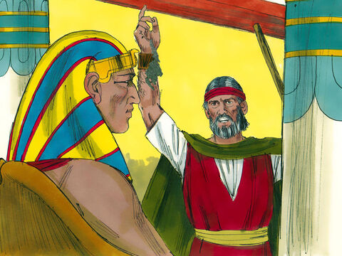 Moses took soot from a furnace and threw it into the air in front of Pharaoh. 'God says, this soot will become a fine dust and people and animals will get festering boils.' – Slide 20