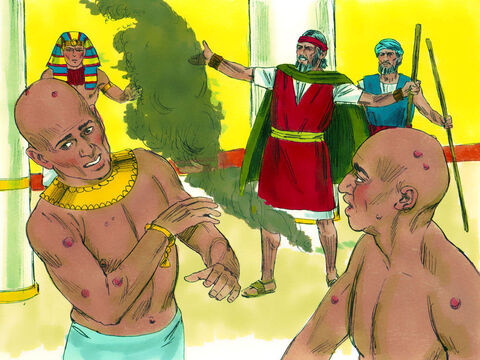 Pharaoh's magicians could not stand before Moses because of the boils that broke out on them and the Egyptians. But Pharaoh still refused to let God's people go. – Slide 21