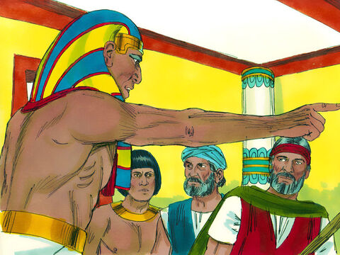 But when Pharaoh found out that all the Hebrew slaves would be leaving he only gave permission for the men to go and worship God. Then he ordered Moses and Aaron to get out of his presence. – Slide 2