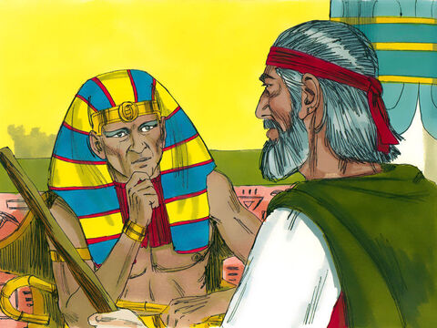 Pharaoh summoned Moses. 'Go and worship God. Take your women and children as well but you must leave your animals behind.' 'Our animals must travel with us,' insisted Moses. 'Some are needed to offer sacrifices to God.' – Slide 9