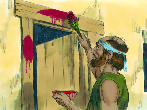 God explained that that night He was going to pass through the land to bring judgement. But if He saw blood on the doorposts of a house He would pass over and those inside would be spared. So the Hebrews did as God instructed. – Slide 15