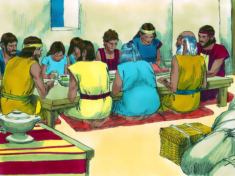 That evening, God's people got dressed ready to leave Egypt and sat down for a meal they would later call the Passover (for God would pass over them). – Slide 16