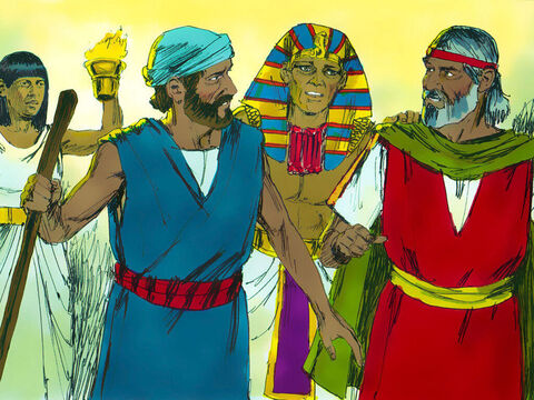 That night, Pharaoh summoned Moses and Aaron and said, 'Up. Leave my people and go and worship the Lord God. Take your families and animals with you. Please bless me.' – Slide 20