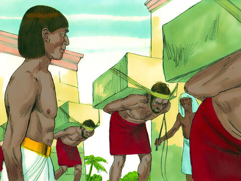 One day he watched his people, the Hebrews, being forced to work hard as slaves by the Egyptians. He was upset at the way his people were being treated. – Slide 2