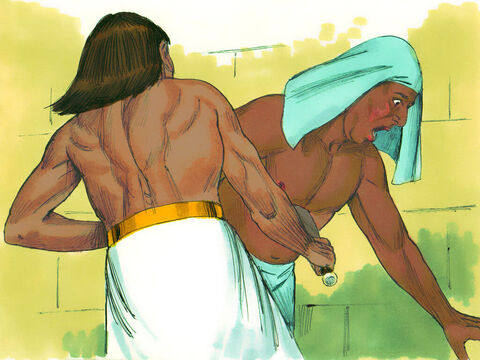 ... then, Moses attacked the Egyptian, killing him. He buried the dead man's body in the sand. – Slide 4