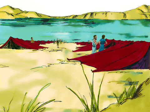 Exodus 14 v 1-14 Eventually God led them to the shore of the Red Sea where they camped. – Slide 6