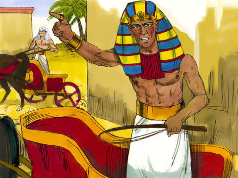 Pharaoh got in his chariot and gathered all his troops and 600 chariots to chase after the escaping Hebrews. – Slide 8