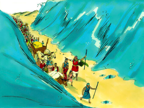 The people crossed through the sea with a wall of water either side of them. – Slide 15