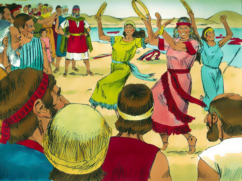 Aaron's sister Miriam the prophet and the women, took tambourines and led everyone in dancing to celebrate. – Slide 21