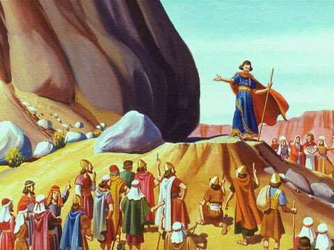 Moses obeyed and gathered everyone before the big rock outside the camp. Then he struck the rock with his rod. – Slide 9