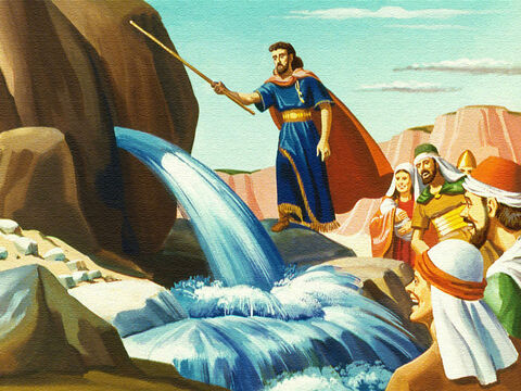 God caused sparkling water to stream out of the rock so everyone and the cattle could drink. But this was not the only problem the people faced as they moved on through the wilderness. – Slide 10