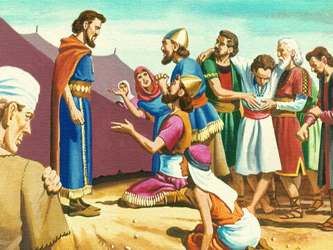 The people came to Moses and said, 'We have disobeyed God and spoken against Him. Please ask God to take the serpents away.' – Slide 25