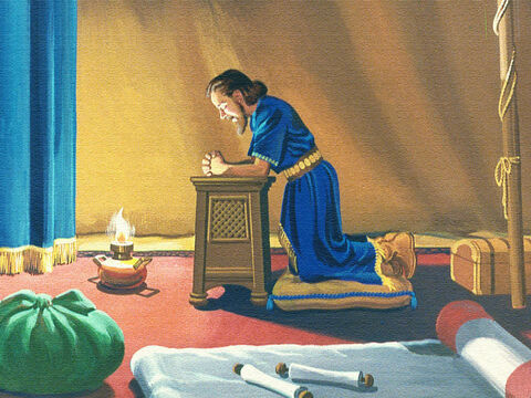 So Moses prayed and the Lord told him what to do. 'Make a fiery serpent of brass and put it on a pole. Everyone who has been bitten who looks at the brass serpent will live.' – Slide 26
