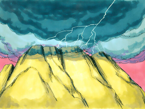 On the morning of the third day there was thunder and lightning and a thick cloud over the mountain. – Slide 9