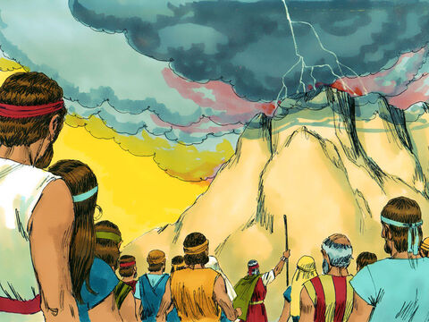 There was the sound of a loud trumpet blast and everyone trembled. Moses led the people to the foot of the mountain. – Slide 10