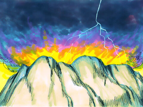 The Lord descended on to Mount Sinai in fire. Smoke billowed up like a furnace and the whole mountain shook. The sound of the trumpet grew louder and louder. – Slide 11