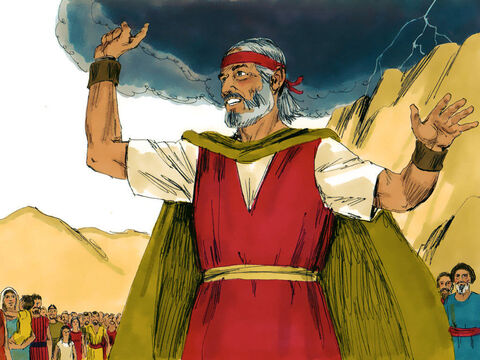 Moses went down to warn everyone that the mountain was holy and they must not approach any closer. Then he and Aaron climbed back to the top. – Slide 14