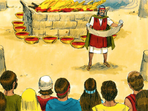 The next morning Moses built an altar to God at the foot of the mountain. Young bulls were sacrificed and half of their blood was splashed on the altar with the rest put in bowls. Moses then read God's laws to everyone again. – Slide 28