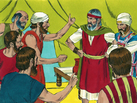 That night the Israelites grumbled and wept. They complained to Moses and Aaron, 'Why is the Lord bringing us to this land only to die in battle? Our wives and children will be taken as plunder.' They started planning to choose another leader and go back to Egypt.' – Slide 14