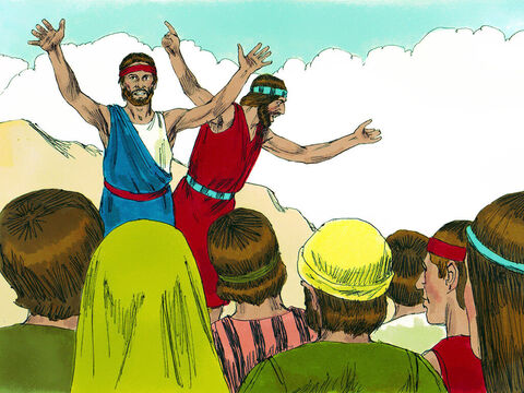 Moses and Aaron fell face down in front of everyone. Two of the spies, Joshua and Caleb, stood up and said, 'The land we explored is exceedingly good. The Lord will lead us into that land flowing with milk and honey, and give it to us. Don't rebel against God or be afraid. The Lord is with us not them.' – Slide 15