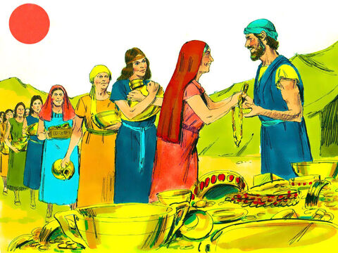 Every morning people willingly came and gave their gifts to make the Tabernacle. They brought jewellery and objects made of gold, silver and bronze, ram's skins, leather and acacia wood. – Slide 5