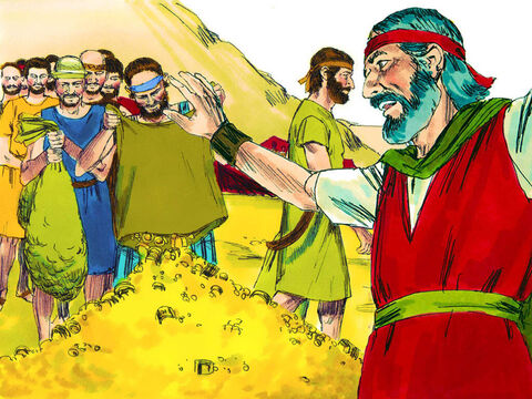 Every morning people kept coming to bring their gifts. Soon they had more than they needed and Moses told them to stop giving. – Slide 9