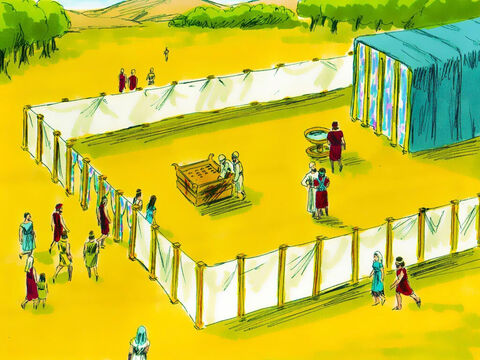Exodus 38 v 9-20 In God's plan there was to be a large courtyard (150ft x 75ft, 46m x 23m). There were 20 posts down the longer sides and ten down the shorter sides each made of wood with a bronze base, silver hooks and silver top. Finely twisted linen curtains were made to go between these posts. – Slide 10