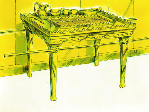 Exodus 37 v 10 -16 A table made of acacia wood covered in gold was made for the Holy Place. It too had golden poles to carry it. It had plates, dishes and bowls all made of gold. Placed on the table each week were 12 loaves of bread representing the 12 tribes of Israel. – Slide 17