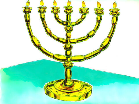 A lamp stand with seven branches made of pure gold was made to light up the Holy Place. – Slide 18