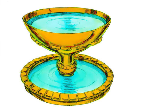 Exodus 38 v 8: So that the priests could wash their hands and feet before they served God in the Tabernacle a large bronze wash basin was made. It was to be placed in the courtyard in front of the Holy Place. – Slide 20