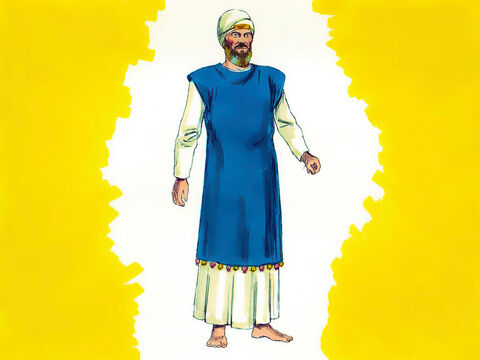 Exodus 39 Garments for the priests were made of white linen. A special garment was made for the High Priest, Aaron. It had a blue sleeveless tunic. – Slide 24