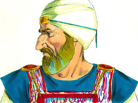 On his head the High Priest wore a turban made of fine linen which was bound around the head in coils. – Slide 27
