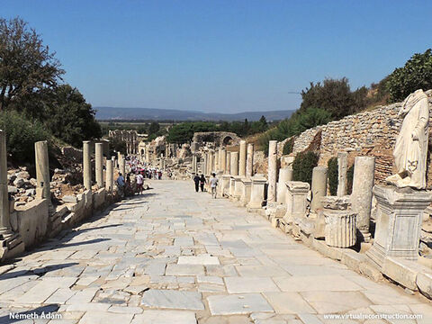 This is the same street as it looks today. When Paul arrived in Ephesus he met 12 disciples of John the Baptist and when he baptised them in the name of Jesus they received the Holy Spirit (Acts 19:1-6). – Slide 3