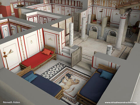 This is a 3D reconstruction of a wealthy house in Ephesus. – Slide 7