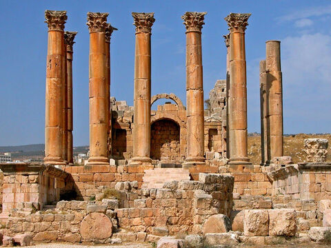 The city was filled with the confusion, and, unable to find Paul, the mob grabbed Paul's travelling companions from Macedonia, Gaius and Aristarchus. <br/>This is the Temple of Artemis as it is today. – Slide 14