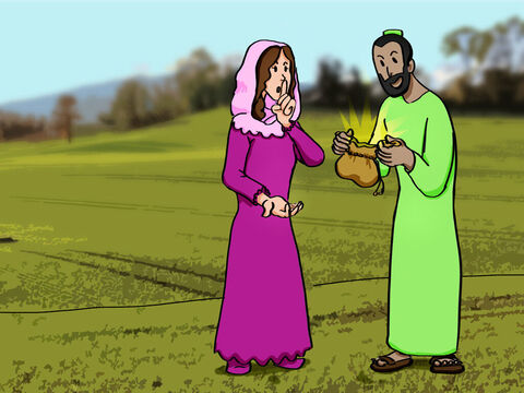 A man named Ananias and his wife, Sapphira, sold some property intending to give it all to God. But they decided to keep some of it for themselves and lied they had given the full amount to the Apostles. – Slide 1