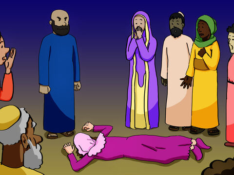 Instantly, she fell to the floor and died. When the young men came back they carried her out and buried her beside her husband. Great fear gripped the entire church and everyone else who heard what had happened. – Slide 5