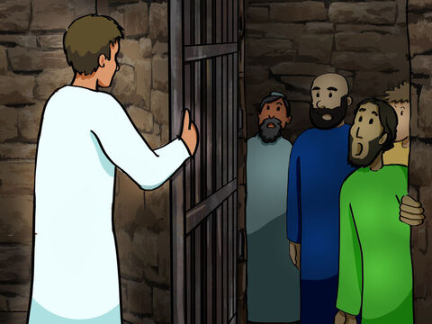 But an angel of the Lord came at night, opened the gates of the jail, and brought them out. <br/>Then he told them, 'Go to the Temple and give the people this message of life!' So at daybreak the apostles entered the Temple, as they were told, and immediately began teaching. – Slide 8