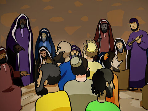 The apostles were arrested and brought before the high council, where the high priest confronted them. 'We gave you strict orders never again to teach in this man's name!' he said. 'Instead, you have filled all Jerusalem with your teaching about him, and you want to make us responsible for his death!' – Slide 9