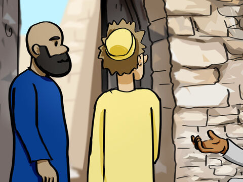 But Peter said, 'I don't have any silver or gold for you. But I'll give you what I have. In the name of Jesus Christ, get up and walk!' <br/>Then Peter took the lame man by the right hand and helped him up. – Slide 3