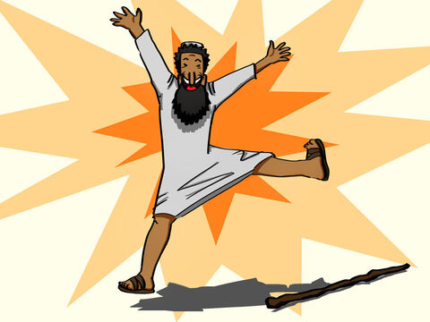 The man's feet and ankles were instantly healed and strengthened. He jumped up, stood on his feet, and began to walk! Then, walking, leaping, and praising God, he went into the Temple with them. <br/>People saw him walking and heard him praising God. When they realized he was the lame beggar they had seen so often at the Beautiful Gate, they were absolutely astounded! – Slide 4