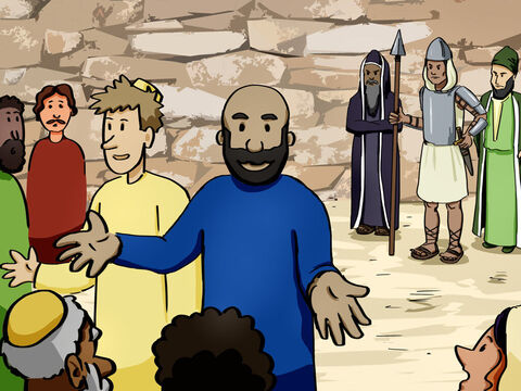 While Peter and John were speaking to the people, they were confronted by the priests, the captain of the Temple guard, and some of the Sadducees. They were very disturbed that Peter and John were teaching that through Jesus there is a resurrection of the dead. <br/>They arrested them and, since it was already evening, put them in jail until morning. – Slide 6
