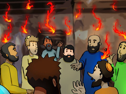 On the day of Pentecost all the believers were meeting together in one place in Jerusalem. <br/>Suddenly, there was a sound from heaven like the roaring of a mighty windstorm. <br/>Then, what looked like flames or tongues of fire appeared and settled on each of them. Everyone present was filled with the Holy Spirit and began speaking in other languages, as the Holy Spirit gave them this ability. – Slide 1