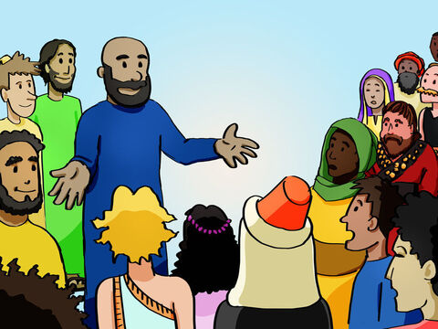 Peter stepped forward with the eleven other apostles and shouted to the crowd, 'Listen carefully. These people are not drunk. Nine o'clock in the morning is much too early for that. No, what you see was predicted long ago by the prophet Joel. 'In the last days,' God says, 'I will pour out my Spirit upon all people' (Acts 2:17-21). – Slide 5