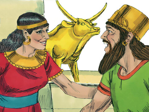 The Bible says that King Ahab, urged on by Jezebel his wife, behaved in the most wicked way by worshipping idols. – Slide 1