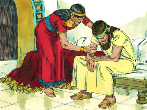 His wife Jezebel came in and asked him, 'Why are you so sullen? Why won't you eat?' Ahab explained how Naboth had refused to part with his vineyard. – Slide 4
