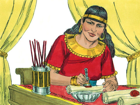 Jezebel wrote letters in the King's name, placed his seal on them, and sent them to the elders and nobles who lived in Naboth's city. In those letters she wrote: 'Proclaim a day of fasting and give Naboth a prominent seat among the people.  Put two scoundrels opposite him to bring charges that he has cursed both God and the king. Then take him out and stone him to death.' – Slide 6