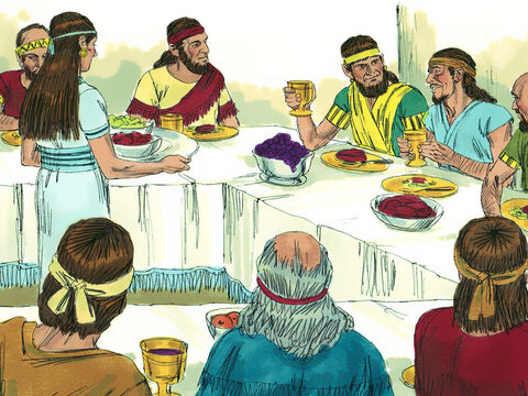 The elders and nobles proclaimed a fast and seated Naboth in a prominent place. Two scoundrels sat opposite him and made false accusations that Naboth had cursed both God and the king. – Slide 7