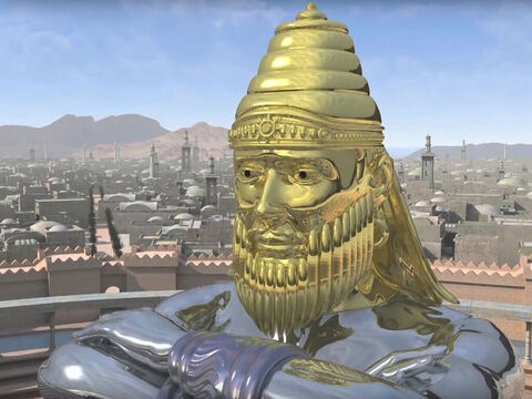'The head of the statue was made of pure gold.' Daniel explained this represented the powerful kingdom of King Nechudchanezzar and the Babylonian Empire (605BC – 539BC). – Slide 3